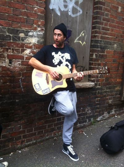 Alex busking in Norwich