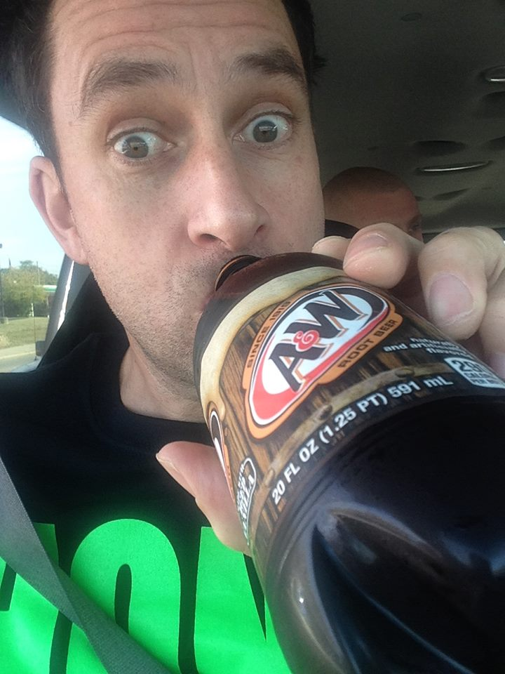 Alex drinking root beer