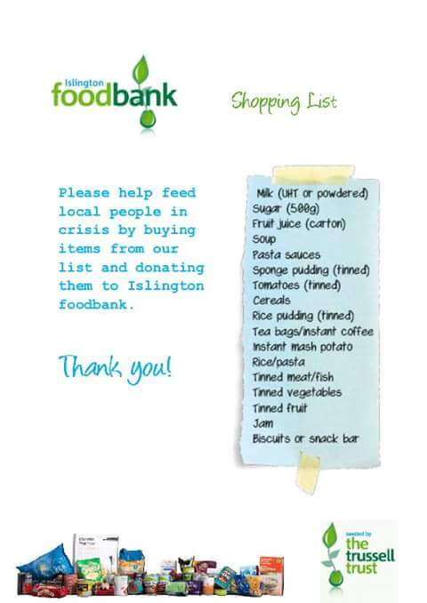 Bring tins / dried stuff for the foodbank please!